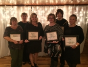 Hospice Plus years-of-service award winners, from left: Connie Kates, nurse aid, 15 years; Donna Tapley, secretary, 20 years; Chelsea Shearer, nurse aid, five years; Paige Tipton, healthcare liaison, five years; Joyce Whallen, billing specialist, 10 years; and Kacelia DeGregorio, insurance coordinator, five years.