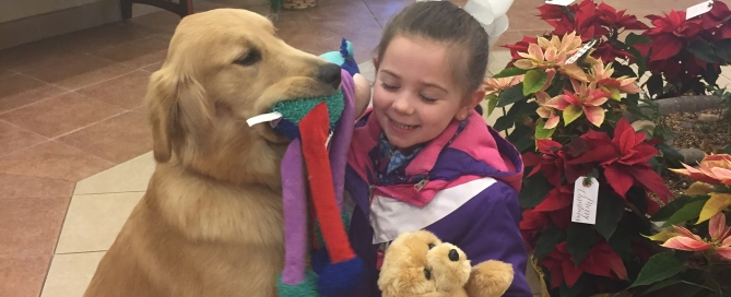"Our Amazon Wish List includes the stuffed animal you see here. When children meet our therapy pet, Joy, she reassures them at a difficult time. When we give them their own ""Joy"" to keep, it's a constant reminder of that reassurance."