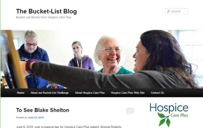 bucket list blog screen shot